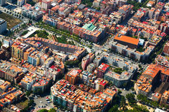 Aerial view  of Barcelona cityscape from helicopter Stock Photography