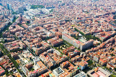 Aerial view of Barcelona from helicopter Stock Photo