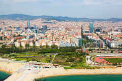Aerial view of Barcelona from helicopter Royalty Free Stock Photo