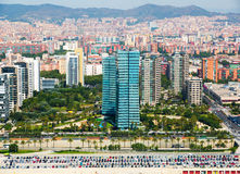 Aerial view of Barcelona from helicopter in summer. New houses at Sea side district stock photos