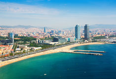 Aerial view of Barcelona from Mediterranean Stock Images