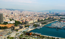 Aerial view of Barcelona and Mediterranean Royalty Free Stock Photos