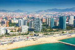 Aerial view of Barcelona from Mediterranean coast Royalty Free Stock Photos