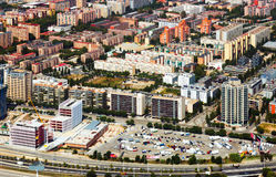 Aerial view of Barcelona. New houses at residence district. Aerial view of Barcelona. New houses at Sant Marti residence district stock image