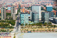 Aerial view of Barcelona. New houses at Sea side district. Aerial view of Barcelona from the helicopter. New houses at Sea side district stock images