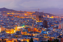 Aerial view Barcelona at night, Catalonia, Spain Royalty Free Stock Photo