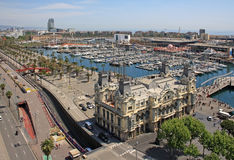 Aerial view of Barcelona port Royalty Free Stock Images