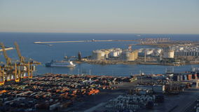 Aerial view of Barcelona port stock footage