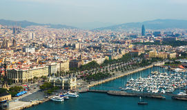 Aerial view of Barcelona with Port from helicopter Stock Images