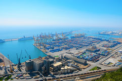 Aerial view of the Barcelona port, in Spain Stock Image