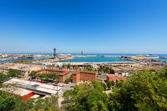 Aerial View of Barcelona Port - Spain Stock Photo