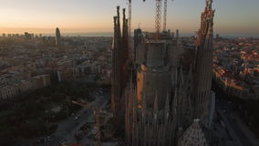 Aerial view of Barcelona with Sagrada Familia stock footage