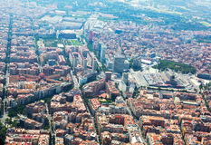 Aerial view of Barcelona with Sants station from helicopter Stock Image