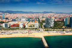 Aerial view of Barcelona from sea Stock Photos