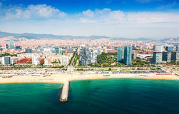 Aerial view of Barcelona from sea. Sant Marti   district Royalty Free Stock Image
