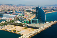 Aerial view of Barcelona from sea Royalty Free Stock Photography