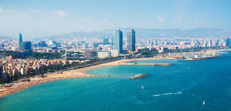 Aerial view of Barcelona from sea. Spain royalty free stock image