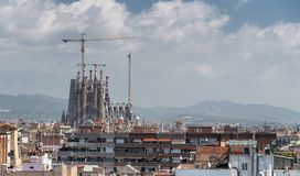 Aerial view of Barcelona skyline with Sagrada Familia under cons. Truction royalty free stock photo