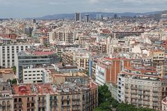 Aerial view Barcelona, Spain Stock Images