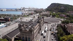 Aerial view of Barcelona stock video footage