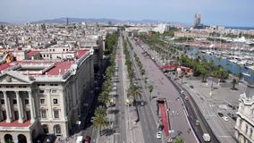 Aerial view of Barcelona stock footage