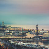 Aerial view of Barcelona, Spain port Royalty Free Stock Photos