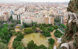 Aerial view of Barcelona and square of Gaudi Stock Photos