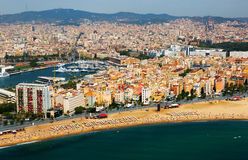 Aerial view of Barceloneta beach.  Barcelona Royalty Free Stock Image