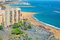Aerial view of Barceloneta beach Royalty Free Stock Image