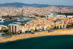 Aerial view of Barceloneta  from Mediterranean.  Barcelona Stock Image
