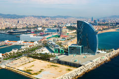 Aerial view of Barceloneta from sea. Barcelona Stock Photo