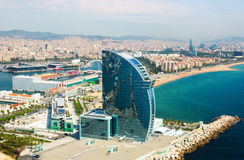 Aerial view of Barceloneta from sea stock photography