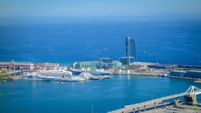 Aerial view of Barceloneta from sea side. Barcelona, Spain. Barceloneta Beach - one of the most popular in the city royalty free stock images