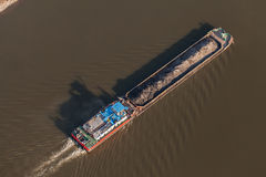 Aerial view of a barge stock images