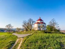 Aerial view of baroque chapel near Rosice city, Czech republic. Catholic religion building is national heritage of Czech republic. Sunny weather, agriculture royalty free stock images