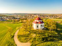 Aerial view of baroque chapel near Rosice city, Czech republic. Catholic religion building is national heritage of Czech republic. Sunny weather, agriculture stock photo