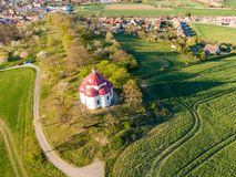 Aerial view of baroque chapel near Rosice city, Czech republic. Catholic religion building is national heritage of Czech republic. Sunny weather, agriculture royalty free stock photo