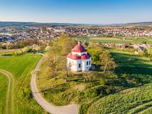 Aerial view of baroque chapel near Rosice city, Czech republic. Catholic religion building is national heritage of Czech republic. Sunny weather, agriculture stock photography