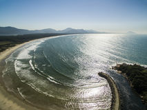 Aerial view Barra da Lagoa Beach in Florianopolis, Brazil. July, Stock Photography
