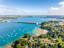 Aerial view on Barrage de la Rance in Brittany close to Saint Malo, Tidal energy Royalty Free Stock Photography