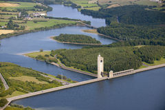 Aerial View : Barrage on a nice lake. (Eau d'Heure) in the countryside Stock Image