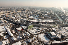 Aerial view at Basarab passage in winter Stock Images