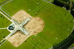 Aerial View of Baseball Fields. Three baseball diamonds near Kent, Washington from above Royalty Free Stock Photography