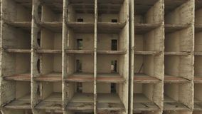 AERIAL VIEW. Basic Structure Of Unfinished Holiday Hotel Building stock video footage