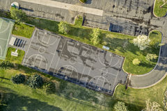 Aerial view of basketball courts Royalty Free Stock Images