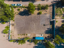 Aerial view basketball field on day time on the beach. Above with drone. Volleyball Royalty Free Stock Photo