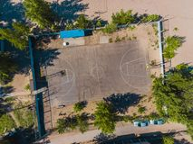 Aerial view basketball field on day time on the beach. Above with drone. Volleyball Stock Photography