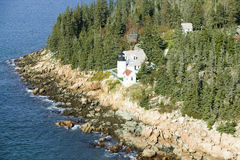 Aerial view of Bass Harbor Head Lighthouse, Acadia National Park, Maine, west side of Mount Desert Island Royalty Free Stock Photos