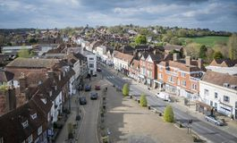 Battle High Street, Sussex, UK. Aerial view of Battle High Street, Battle, Sussex, England, UK Royalty Free Stock Photo