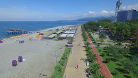 Aerial view of Batumi beach stock footage